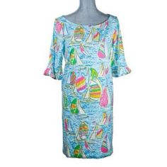 You Gotta Regatta Dress Make Offer Medium Lilly Pulitzer You Gotta Regetta Dress w/ Ruffled Sleeves. No trades. Make me a reasonable offer. Please don't waste my time with low blow offers. Very sought after pattern. Basically new,worn once. I have lost a lot of weight and this will not fit me anymore. Lilly Pulitzer Dresses