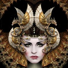 """Queen of Dragons - 16"""" x 16"""" Digital Painting on Canvas © E.Trostli"""