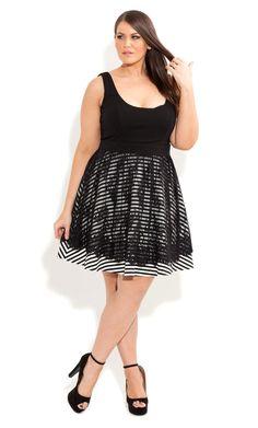 City Chic - LACE STRIPE SWING DRESS - Women's plus size fashion