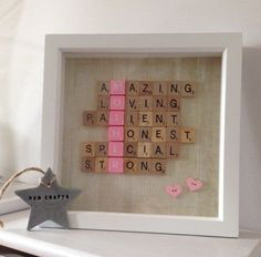 Framed Scrabble Letters | Creative DIY Mother's Day Gifts Ideas | Thoughtful Homemade Gifts for Mom. Handmade Ideas from Daughter, Son, Kids, Teens | Unique, Easy, Cheap Do It Yourself Crafts To Make for Mothers Day, complete with tutorials and instructio http://someurl.com