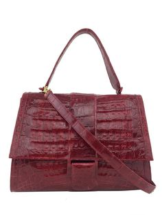 Nancy Gonzalez Medium Crocodile Top Handle Flap Bag, Red