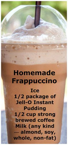 Save money by making your regular frappuccino at home! Homemade Frappuccino Recipe - Save money by making your regular frappuccino at home! Save money by making your regular frappuccino at home! Summer Drinks, Fun Drinks, Healthy Drinks, Healthy Food, Beverages, Refreshing Drinks, Healthy Recipes, Easy Drink Recipes, Tuna Recipes