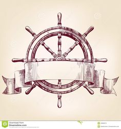 boat wheel drawing - Google Search