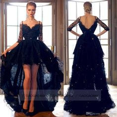 Sexy Black Lace Hi Lo Formal Evening Prom Dresses Off Shoulder Backless Long Sleeve Plus Size Celebrity Party Gowns Arabic Custom 2015 Online with $151.84/Piece on Gaogao8899's Store | DHgate.com