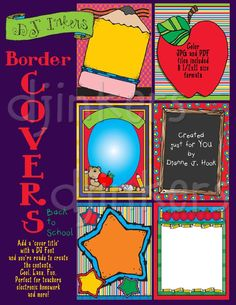 Add a cute, colorful cover to all of your back to school projects in a snap!  Just add a 'cover title' with a DJ font & you're ready to create the contents. Cool, easy, & fun for teachers, electronic homework, project covers, memory books & MORE!!!