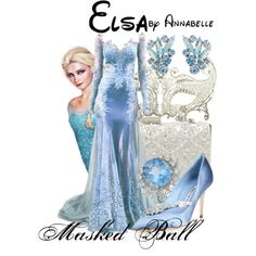 Frozen - Masked Ball - Elsa formal gown by annabelle-95 on Polyvore featuring Manolo Blahnik, Susan Caplan Vintage and Disney