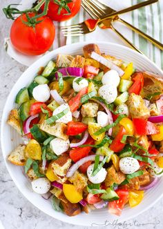 A delightfully light and refreshing summer panzanella salad for your dinner…