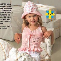 Вязание для девочки: топ и шапочка