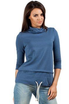 Niebieska bluza damska z rękawem za łokieć Hoodies, Sweaters, Fashion, Moda, Sweatshirts, Fashion Styles, Parka, Sweater, Fashion Illustrations