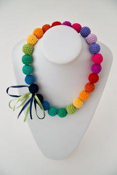 Regenbogen-Halskette bunte Halskette Gehäkelte von SuddenlyYou