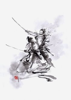 Samurai Warrior Painting Original Art Japan Style by SamuraiArt