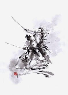 Samurai Warrior Painting Original Art Japan Style by SamuraiArt