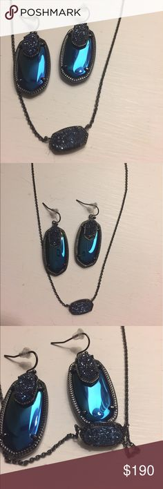 Kendra Scott Emmys and Elisa Custom Emmys and Elisa in gunmetal. Stones are black iridescent and blue Drusy. Excellent used condition. No chipping on gunmetal. I am disclosing that the blue Drusy stones in the Emmys are glued down. They are thicker and I didn't want to risk scratching the gunmetal or breaking a prong off. Beautiful one of a kind set, never produced. Kendra Scott Jewelry
