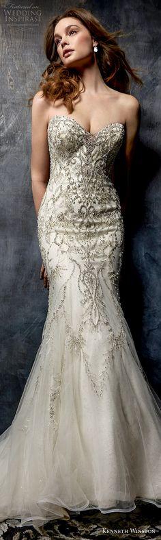 kenneth winston fall 2017 bridal strapless sweetheart neckline heavily embellished beaded bodice elegant glamorous mermaid wedding dress medium train (50) lv -- Kenneth Winston Couture Wedding Dresses