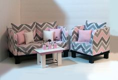 American Girl Chevron Living Room Set by HKDesignz on Etsy