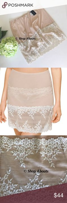 """Wacoal 813291 Embrace Lace Half Slip Sand/Beige Embrace Lace Collection half slip by Wacoal Style 813291  New with Tags Color:  Sand/Ivory US Size 8-XL  Mid thigh length half slip Finished length about 18 inches Signature lac e floral pattern with mesh body  Fold over 3/8"""" elastic waistband  Body:  82% nylon 18% lycra spandex Lace:  nylon/polyester/lycra spandex Wacoal Intimates & Sleepwear Chemises & Slips"""