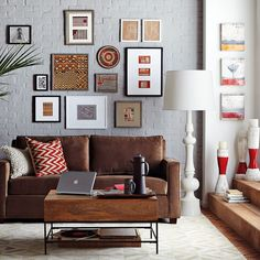 Loving this brown and gray combo with pops of red.