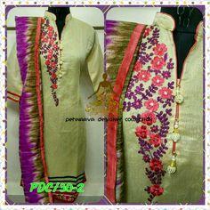 Chanderi embroidered kurti wid supernet dupatta
