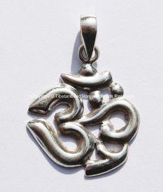 92.5 Sterling Silver Sanskrit OM Mantra Charm Pendant - OM Om Aum Ohm - 19mm x 27mm - Handcrafted Sterling Silver Tibetan Jewelry - SS106
