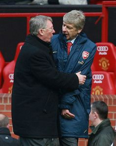Alex Ferguson and Arsene Wenger embrace following Manchester Uniteds victory over Arsenal in the Premier League on April 13, 2008