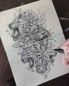 Creative artist Kerby Rosanes, an illustrator based in Manila, Philippines. Kerby Rosanes uses ink primarily in their drawings. For more drawings →View Website Ink Pen Drawings, Doodle Drawings, Doodle Art, Animal Drawings, Drawing Sketches, Lion Illustration, Ink Illustrations, Pen Sketch, Pen Art