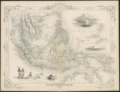 1860 map of the Malay peninsula showing Borneo, Indonesian archipelago, New Guinea, Philippines, Cambodia, Thailand and the northern coast of Australia. Includes 4 illustrations: Victoria Mount New Guinea, Near Sarawak Borneo, Natives of New Guinea, The bee bear