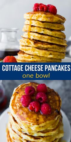 These cottage cheese pancakes are light and fluffy, with pockets of gooey cottage cheese. With 6 g of protein per pancake, they will actually fill you up, and they are simple to mix up in one bowl. #sweetpeasandsaffron #pancake #breakfast Best Breakfast Recipes, Quick And Easy Breakfast, Brunch Recipes, Snack Recipes, Brunch Ideas, Cheese Recipes, Fruit Pancakes, Cottage Cheese Pancakes, Waffles