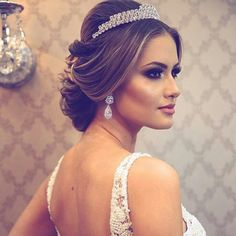 Trendy Ideas For Wedding Hairstyles Princess Updo Brides Wedding Beauty, Wedding Makeup, Princess Updo, Quinceanera Hairstyles, Hairdo Wedding, Bridal Tiara, Bride Hairstyles, Hair Art, Bridal Make Up