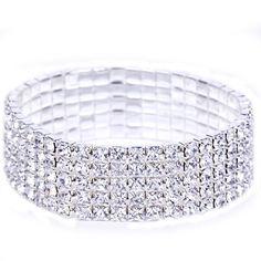 5.5cm Rhinestone Crystal Wedding Accessories Bride Jewelry Bracelet 5 Row