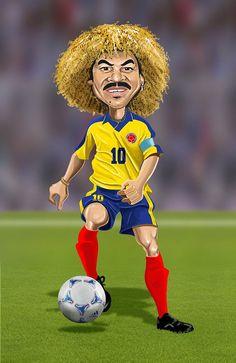Carlos Valderrama of Colombia Cartoon Faces, Funny Faces, Cartoon Art, Cartoon Characters, Carlos Valderrama, Funny Caricatures, Celebrity Caricatures, Colombian Art, Realistic Cartoons