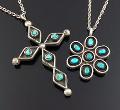OLD ZUNI STERLING SILVER TURQUOISE & CORAL REVERSIBLE CROSS & FLOWER PENDANT