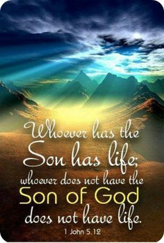 1 John 5:12 Whoever has the Son has life...