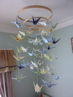 DIM (did it myself!) Baby Origami Paper Crane Mobile Chandelier