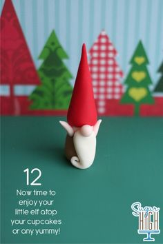 """little gnome ~ """"This one is made of fondant, but done in polymer, he will last forever!"""""""