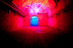 Tunnel of Tears, Lichtkunstzentrum, Unna. The museum has an outstanding collection of light art in the cellars of an old brewery. This work by Keith Sonnier is about colours and their temperature.