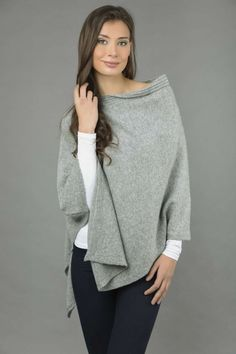 Pure Cashmere Knitted Asymmetric Poncho Wrap in Light Grey front 1 Cashmere Poncho, Knitted Poncho, Winter Springs, One Size Fits All, Jeggings, Pullover, Pure Products, Grey, Sweaters
