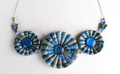 Recycled paper necklace 3 Flowers with glass by VasariahCreations, €35.80