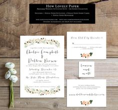 Printable Wedding Invitation Suite the Sophie by HowLovelyPaper
