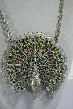 Fun Vintage Anthropomorphic Green and Orange Enamel Mushroom Necklace and Ring Set