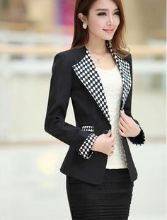 Nueva Moda 2015 Botón Mujer Marca Blazers primavera Plaid Patchwork Delgado Single Ladies Blazer manga larga traje chaqueta XXXL A499