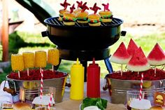Use skewers and styrofoam bricks to display BBQ sides and treats! From @Celebrations.com #partyideas