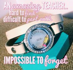 Origami Owl teacher appreciation end of year gift. Show an amazing teacher how much you appreciated her help this year! www.jessicablum.origamiowl.com #inscriptions #leatherwrap #wraplocket