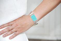 Seed beads Turquoise bracelet chain Multistrand bracelet