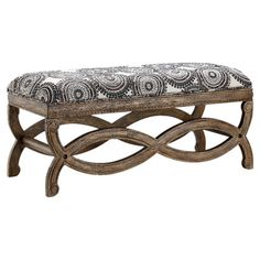Medallion-print upholstery accents the curving base of this stylish bench, an eye-catching addition to your master suite or foyer.  ...
