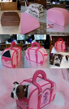 "Dog Bag Cake Step-by-step by ~Verusca on deviantART > Not quite ""hidden inside"" as per the name of this board as you can see the dog but certainly a surprise!!"