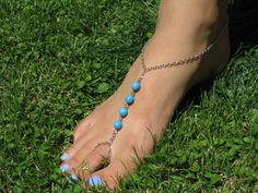 Silver Chain and Turquoise Barefoot Sandals Slave от HouseOfBlaise