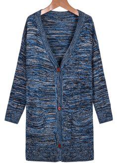 Blue V Neck Long Sleeve Knit Cardigan - Sheinside.com