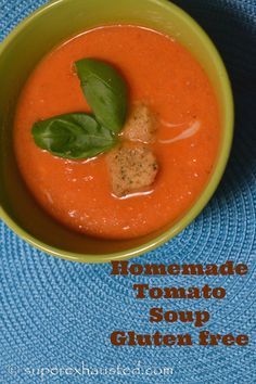 """Shaun's favorite tomato soup (the kids loved this """"orange soup"""" even though they wouldn't like the ingredients) [I didn't blanch the tomatoes--just let them simmer with chicken broth in the same pan with softened veggies; poured into blender; skipped the cream]"""