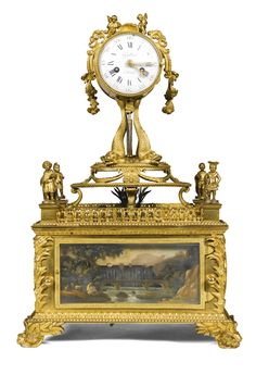 c1780 A George III ormolu enamel-mounted musical automaton table clock with associated French clock movement, circa 1780 Estimate   25,000 — 35,000  GBP 41,913 - 58,678USD  LOT SOLD. 50,000 GBP (83,825 USD) (Hammer Price with Buyer's Premium)