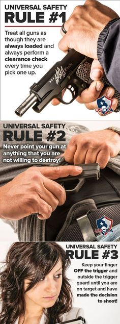 Here is a collection of gun safety rules that all gun users should follow.